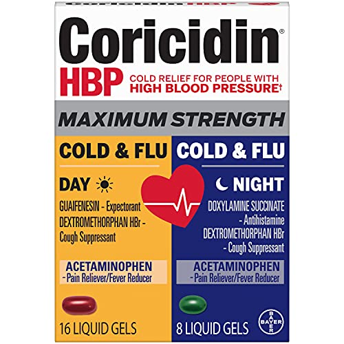 Coricidin Hbp, Decongestant-free Maximum Strength Cold & Flu Day+night Liquid Gels, 24 Count