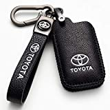 Nonesuper (Black) for Toyota Key Fob Cover, Genuine Leather Key Fob Case Full Protection Case is Compatible with 2018 2017 2016 Toyota Cruise Tacoma Land Prius Smart Key…