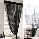Pindia 1pc 9ft Decorative Polyester String Room Divider Thread Curtain - 9ft, Black
