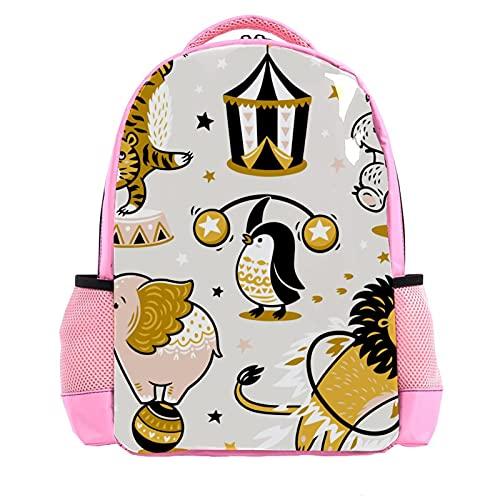 Girl Pink Backpack Women Shoulder Bags College Bookbag Travel Rucksack Cartoon Circus Animal Lion Tiger Penguin Funny