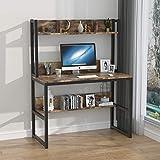 KCRET Escritorio para computadora 107 x 50 x 75 cm, Mesa para computadora con estantería de Dos Niveles, Escritorio para computadora de Oficina en el hogar - fácil Montaje, Ahorro de Espacio