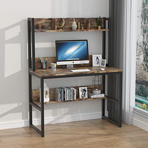 TWSOUL Scrivania per Computer, Scrittoio con Libreria A Due Piani,Computer Desk 102 * 50 * 75 cm,Tavolo da Lavoro per Ufficio Soggiorno,Risparmiare Spazio.