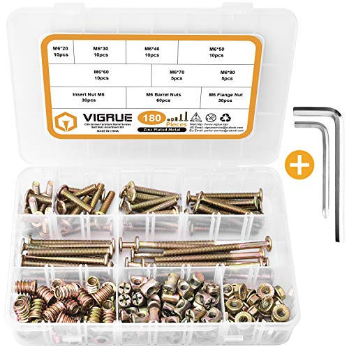 VIGRUE 180PCS M6 Bolts Nuts Kit Furniture Bolt Crib Screws Kit Hex Socket Head Cap Screws Nuts Barrel Bolt Nuts for Crib Bunk Bed Cot (M6×20mm - M6×80mm)