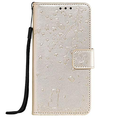 WVYMX Compatible with Moto G7 Power Case, PU Leather Flip Wallet Case with Viewing Stand/Card Slots Flower Cat Embossed Pattern Design Cover for Moto G7 Power Gold