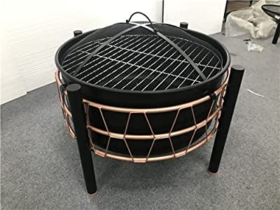 Schallen Garden Outdoor Black & Copper Large Bowl Fire Pit with Safety Mesh, Cooking BBQ Grill and Long Poker from Schallen