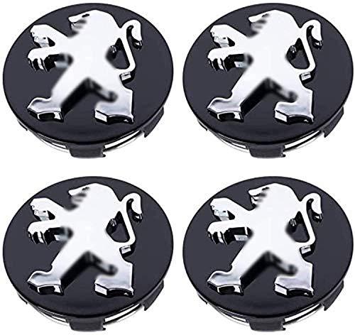 Aieryu 4Pcs Tapas Centrales de Llantas para Peugeot, 3D Emblema Aluminio Tapas Centrales de Bujes Pegatinas con el Logotipo Rueda Accesorios, 60mm
