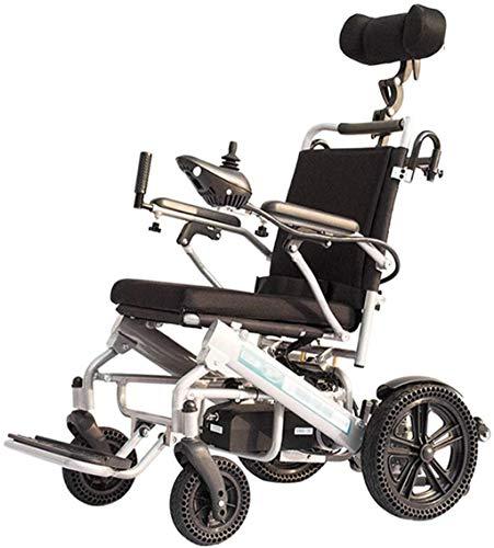 Leichte faltbare Elektro-Rollstuhl Faltbare Leichte Elektro-Rollstuhl mit Joystick-Kopfstütze, nur 2kg mit Li-Ion-Akku, 100 kg Nutzlast, Honeycomb Reifen for ältere und behinderte Menschen, Singlelith