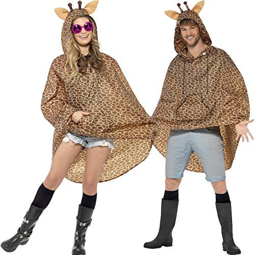 PARTY DISCOUNT NEU Party-Poncho, Giraffe, Einheitsgröße, 1 Stück