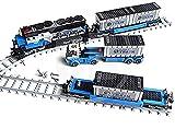 Juego de construcción de tren de mercancías con vagón, rieles, contenedores, camiones, 1008 bloques de construcción