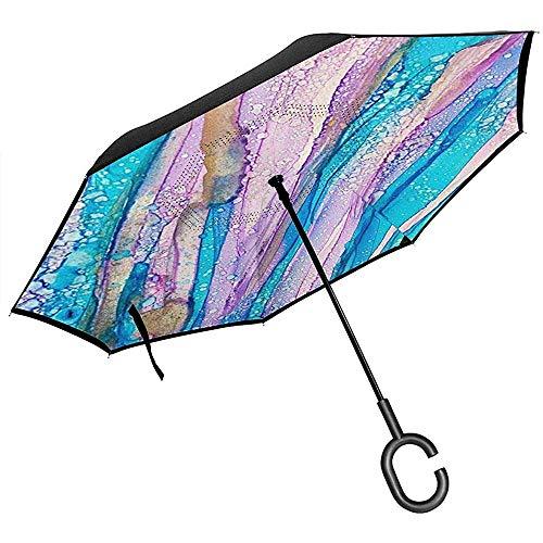 Paraguas invertido de Doble Capa con Mango en Forma de C, sombrillas Unisex con protección UV a Prueba de Viento, Arte Moderno, vidrieras