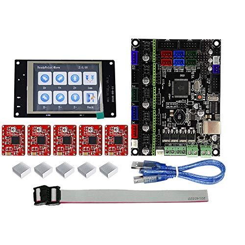 TOOGOO Tft32 Pantalla de Prensa LCD a Todo Color + Placa Base Mks-Gen L con 5 Piezas Kit de Placa de Controlador de Impresora 3D Controlador Rojo A4988