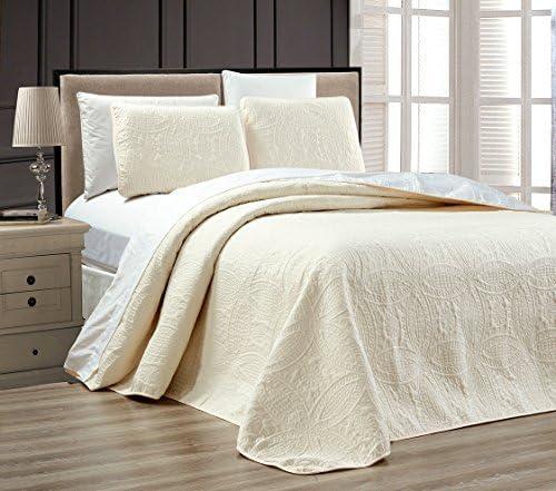 Grand Linen 2-Piece White Ivory Oversize Bedsp Factory outlet ORNATO Reversible Over item handling ☆