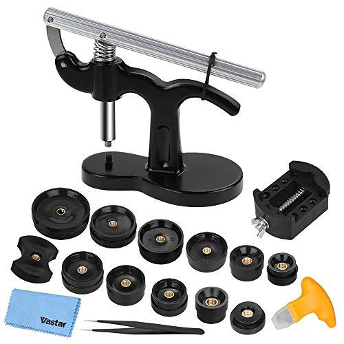 Vastar 18 Teilig Uhr Presse Uhr Einpresswerkzeug Set Uhren Presse Rückseite Gehäuse Uhrenmacher Reparatur Werkzeug mit 12 Druckplatten Kunststoffeinsätze