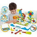 TGXL Taladro Tornillos Rompecabezas Bloques Juguetes, 237 Unids Set Bloques De Construcción De Mosaico Creativo Peg Taladro Eléctrico Ensamblar Juguete Gift