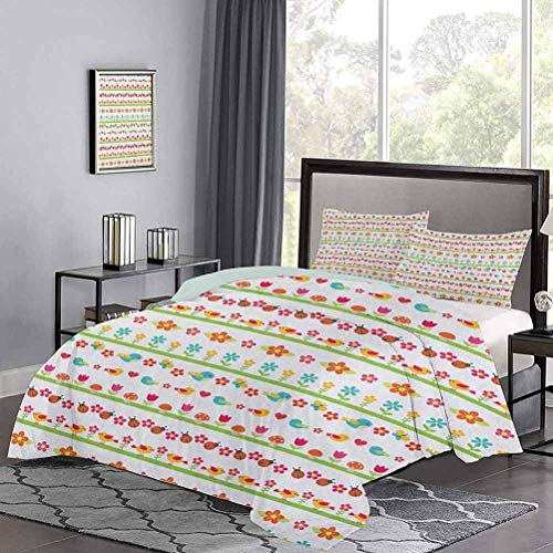 Yoyon Kids' Quilt Set Lovely Border Designs with Birds Ladybugs and Summer Flowers Cheering Nature Cartoon Spring Duvet Cover Soft, Breathable, Easy-Wash Multicolor