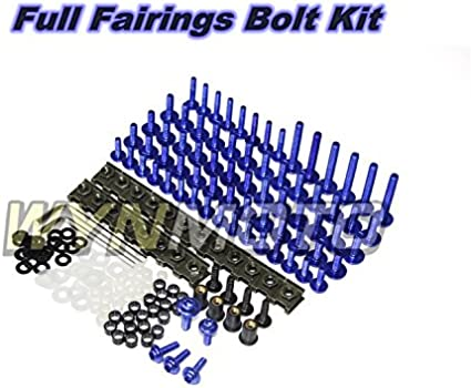 Blue WYNMOTO US Stock Full Motorcycle Fairing Bolt Kit For Yamaha R6 98 99 00 01 02 YZF-600 R6 1998 1999 2000 2001 2002 New Body Screws Aluminum Fasteners Hardware Clips