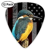 ギターピック 12枚セット 鳥とアメリカの国旗 それぞれ厚さ カラフル 3種類 0.46/0.71/0.96mm 収納ケース付 ティアドロップ型 Shape Guitar Picks ベース 練習 初心者