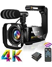 """Videocamera Ultra HD 4K Videocamere 30MP 18X Digital Zoom Videocamera 3.0"""" LCD Touch Screen Ruotabile Videocamera per YouTube con microfono, Paraluce,Stabilizzatore portatile"""