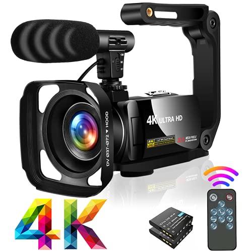 Videocamera Ultra HD 4K Videocamere 30MP 18X Digital Zoom Videocamera 3.0  LCD Touch Screen Ruotabile Videocamera per YouTube con microfono, Paraluce,Stabilizzatore portatile
