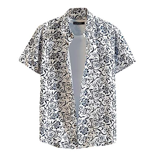 Yowablo Hawaii Herren Hawaii Printed Splicing Pattern Lässige Mode Revers Kurzarm (4XL,5Grau)