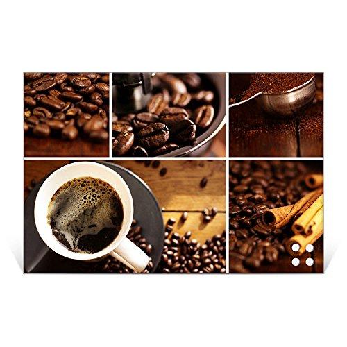 BANJADO Glas Magnettafel mit 4 Magneten | Magnetwand 45x30cm groß | Memoboard beschreibbar perfekt für die Küche | Magnetboard groß mit Motiv Kaffee&Schokolade