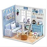 Hilitand DIY Puppenhäuser Miniatur Puppenhaus Holzspielzeug für Kinder Geburtstagsgeschenk für...