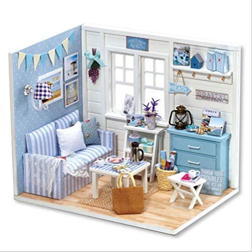 Hilitand DIY Puppenhäuser Miniatur Puppenhaus Holzspielzeug Ohne Musik für Kinder Geburtstagsgeschenk für Kind und Campus Paar große Wahl für Wohnkultur(Blue)
