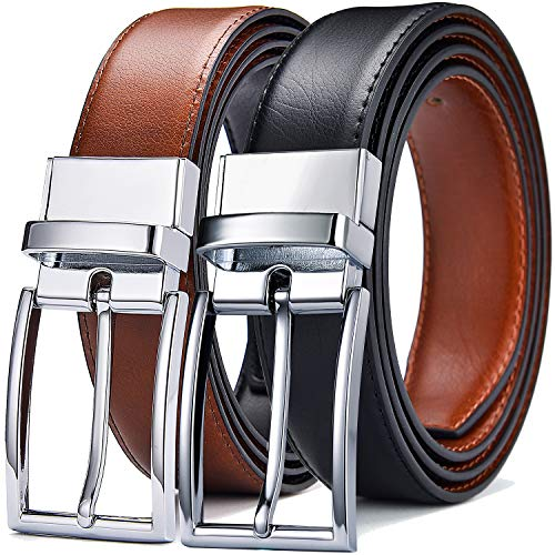 DWTS Men's Belt Genuine Leather Belts For Men Reversible with Rotated Buckle