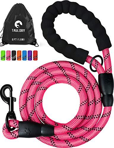 Taglory Starke Hundeleine mit Bequemen Gepolsterten Griff, 1.5M Reflektierend Trainingsleine für Klein Mittel Große Hunde, Pink