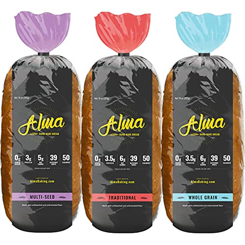 Alma Baking Bread – Low Carb, Low Glycemic, Keto Friendly, Low Calorie, Sugar Free – Sliced Loaf Sandwich Bread (Variety Sampler, 14 Ounces (Pack of 3))