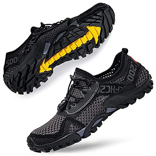 DimaiGlobal Herren Sportsandale Sommer Hiking Sandale Trekking Wanderschuhe Atmung Mesh Schuhe Draussen rutschfest Wanderstiefel 44EU Grau