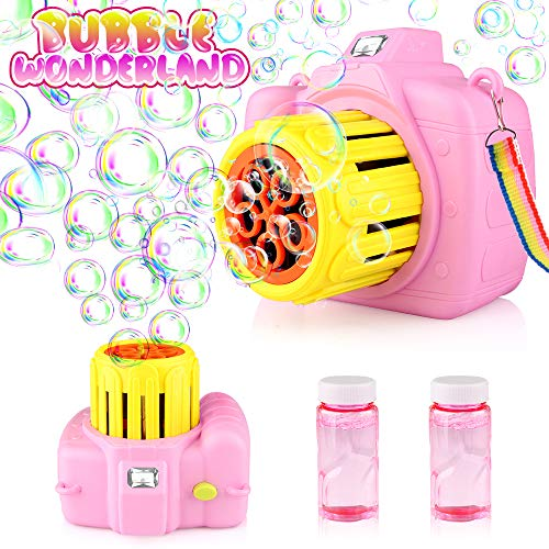 Betheaces Bubble Machine Toys for Kids Toddlers Boys Girls, Automatic Bubble Blower with Bubble Solution Portable Bubble Maker Toy Gift for Children Birthday Party, Wedding, Outdoor Indoor Games
