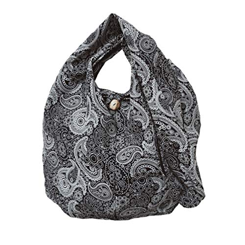 BTP! Thai Cotton Hippie Hobo Sling Crossbody Bag eco Friendly Shopping bag Paisley Print Large (Black PL3)