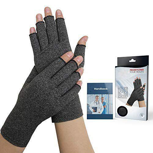 Doctor Developed Compression Arthritis Gloves - Doctor Written Handbook Included: Relieve Arthritis Symptoms, Raynauds Disease & Carpal Tunnel [One Pair] (L)