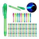 Relaxdays UV-Stifte im Set, unsichtbare Schrift, Geheimstifte mit UV-Licht, Kindergeburtstag, Kunststoff, 4 Farben (120er Pack)