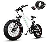 nakto 20' 300W Fat Tire Electric Bicycles Snow Beach Mountain Bike Shimano 6 Speed Gear E-Bike with Removable Waterproof Large Capacity 36V10A Lithium Battery and Battery Charger Electric Bike
