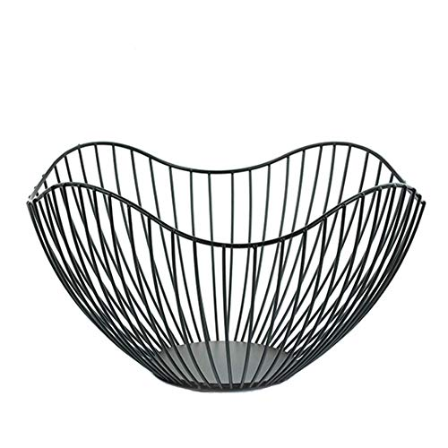Metal Wire Fruit Container Bowls Stand for Modern Kitchen Countertop, Large Round Black Storage Baskets for Bread, K Cup, and Decorative Items, 10 Inch (Curve)