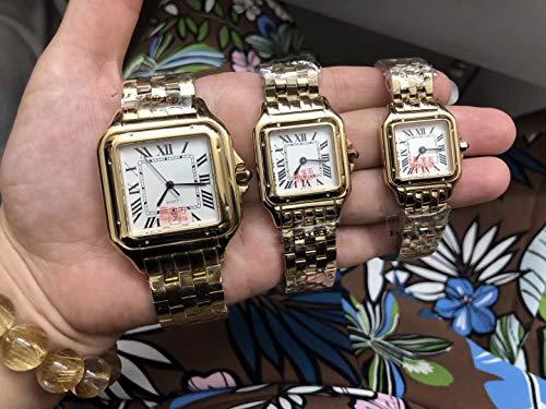WAVFCSE Luxusmarke Neue Männer Frauen Japan Quarz Weiß Date18K Gelbgold Saphir Platz Uhr Dame Rom Zifferblatt Santos Sportuhren AAA + Klein