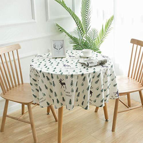 EDCV 150cm tafelkleed Ronde tafelkleden Eettafel CoverschoorsteenmantelDecoratief tafelkleed Katoen linnen, 02