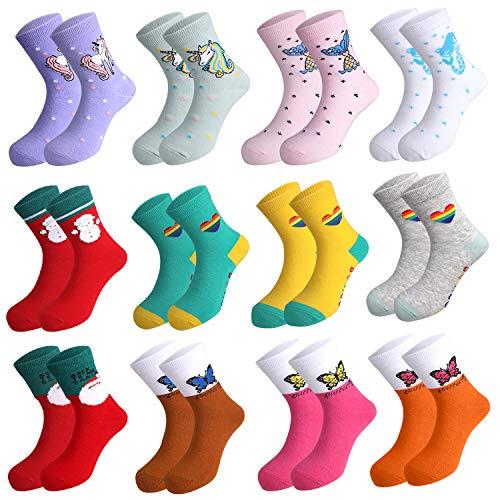 Rovtop 12Pares Calcetines de Niños, Calcetines para Niños de 5 a 7 Años, Calcetines Navideños de Animados Bonitos, Unicornios, Calcetines con Patrón de Sirena (Talla 24-29)