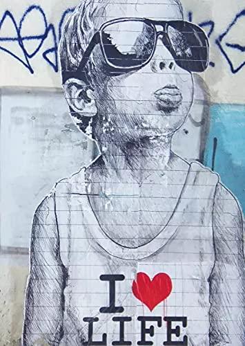 JHGJHK Tap Street Graffiti Art Painting Pintura al óleo Pintura de Arte Abstracto Grabado Decoración de la Pared del hogar 1