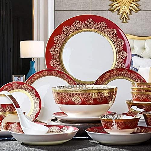 Juego de Platos, Juego de vajillas de cerámica con 38 Piezas, Placa/Placa/Cuchara | Conjunto de Cena de Hueso de China, Conjunto de combinación de Porcelana de patrón de Oro de Oro Rojo, Euro CER