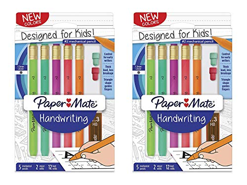 Paper Mate Handwriting Triangular Mechanical Pencil Set with Lead & Eraser Refills, 1.3mm, Fun Barrel Colors, 8 Count (2017483), Pack 2
