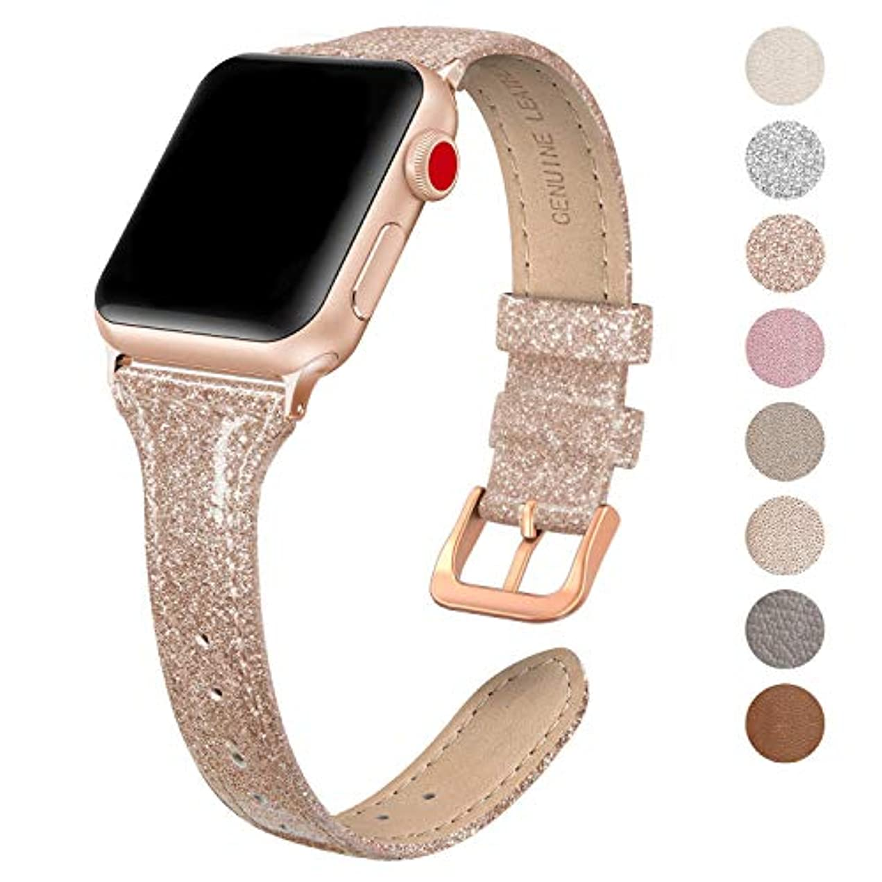 SWEES Leather Band Compatible for Apple Watch iWatch 38mm 40mm, Slim Thin Dressy Genuine Leather Strap Compatible iWatch Series 4 Series 3 Series 2 Series 1 Sport Edition Women, Shiny Rose Gold