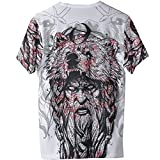 2021 Camiseta Berserker Moda para Hombre Vikingo de Manga Corta, Primavera Verano Casual Playa Fresca Secado Rápido Tatuaje 3D Odin & Wolf Regalo de Adolescente,Blanco,XL