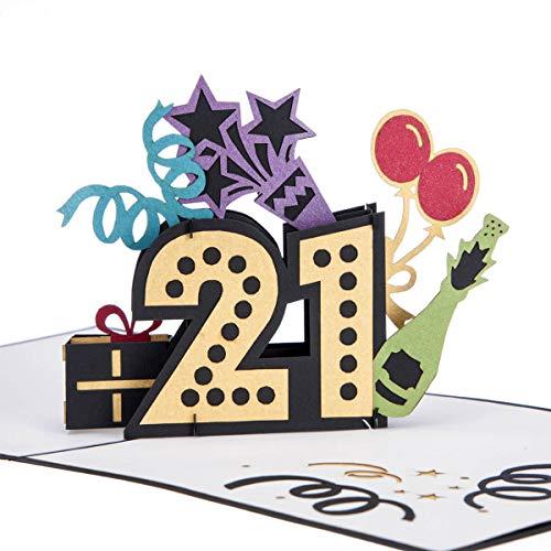 Cardology Geburtstagskarte zum 21. Geburtstag, zum 21. Geburtstag, für Tochter, 21. Geburtstag, Geschenkidee, handgefertigt.