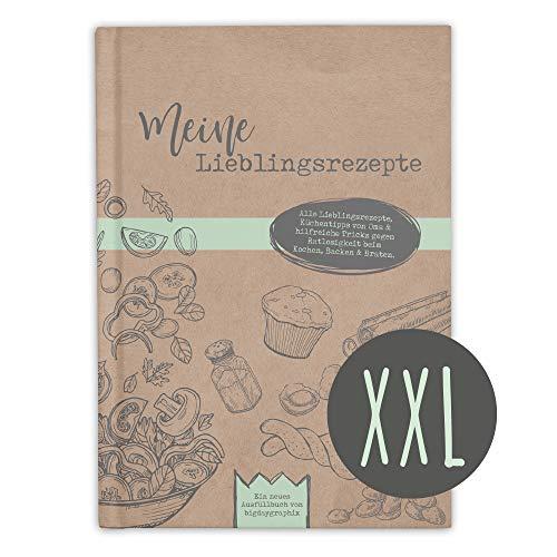 bigdaygraphix XXL DIN A4 Rezeptbuch zum Selberschreiben und Ausfüllen XL Meine Lieblingsrezepte - Hochformat Hardcover mit Register