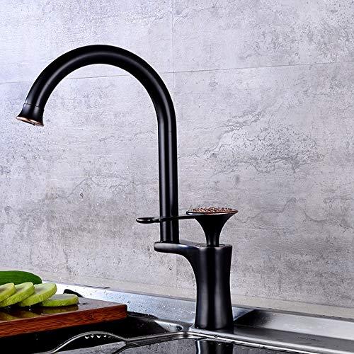 Kcakek RVS keukenkraan warm en koude schotel kraan Single-Handle Kitchen Sink kraan roestvrij Spuitbus Sink-Kraan-Spuitbus Afvoersamenstel Sink mengkraan (Color : Zwart)