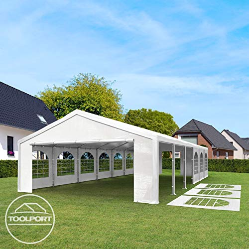 TOOLPORT Hochwertiges Partyzelt 4x8 m Pavillon Zelt 240g/m² PE Plane Gartenzelt Festzelt Wasserdicht weiß - 4