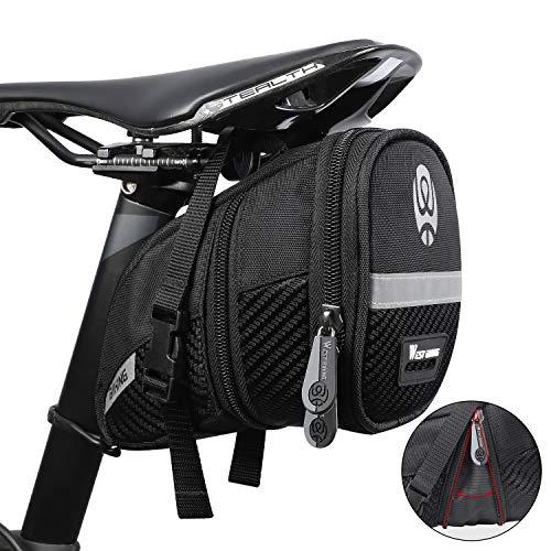 Westgirl Fahrradsattel-Tasche, wasserabweisend, mit reflektierenden Streifen, große Kapazität, für Mountainbike, Straßenrad, für Mini-Pumpen, Reparaturwerkzeug, Fahrradzubehör, Herren, Black-B